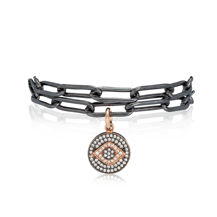 Black Rhodium and Yellow Evil Eye Pick Your Length Bracelet