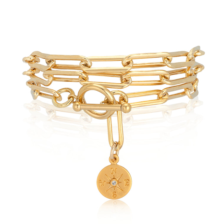 Gold Diamond Compass Triple Wrap Bracelet