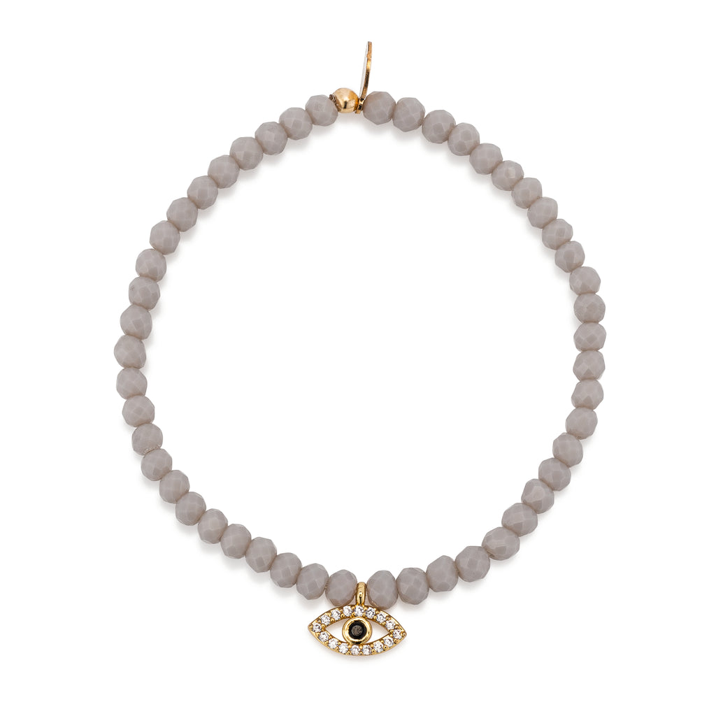 Gray Crystal & Yellow CZ Evil Eye Beaded Bracelet