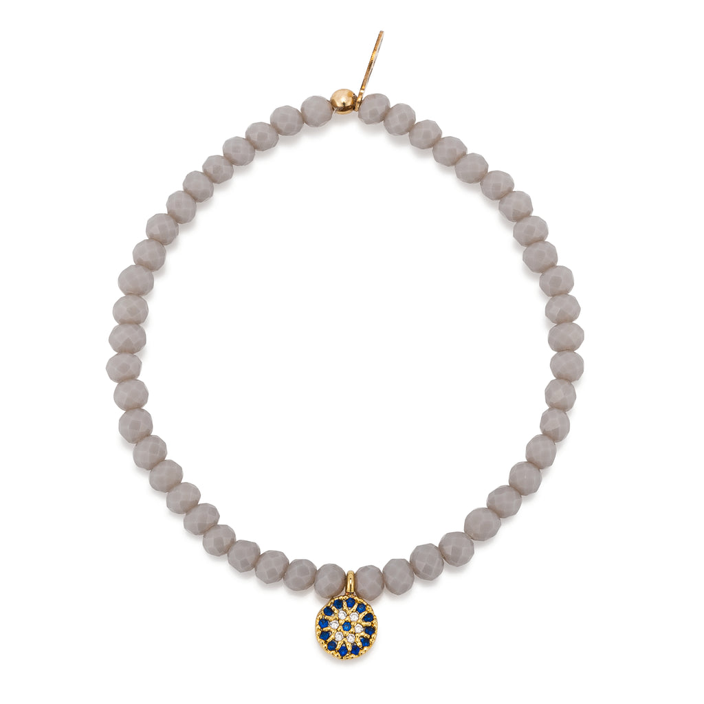 Gray Crystal & Yellow CZ Evil Eye Disk Beaded Bracelet