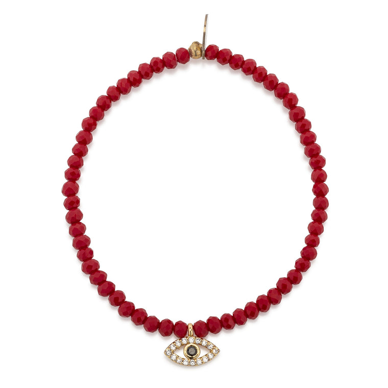 Red Crystal & Yellow CZ Evil Eye Beaded Bracelet