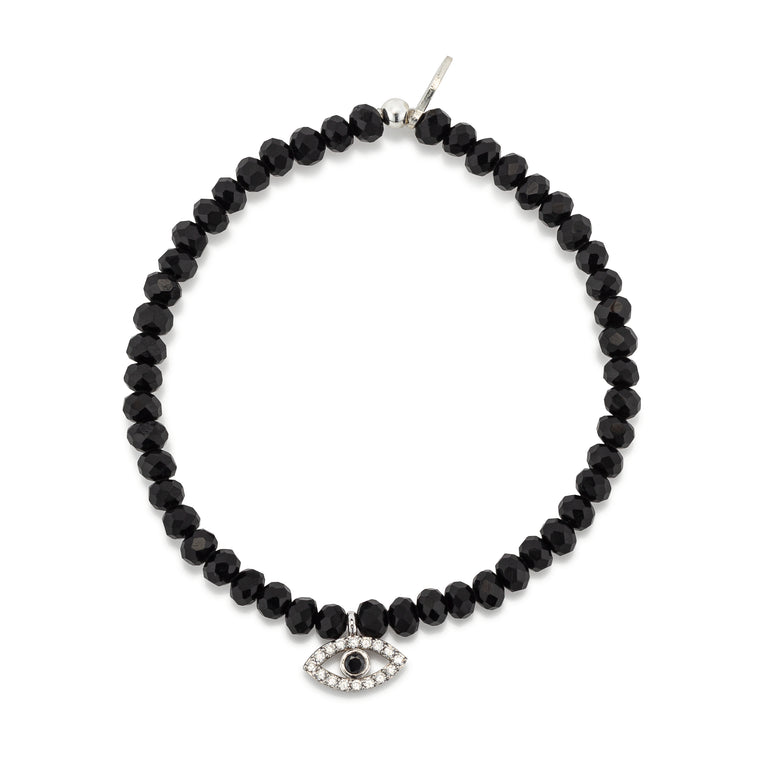 Black Crystal & Silver CZ Evil Eye Charm Beaded Bracelet