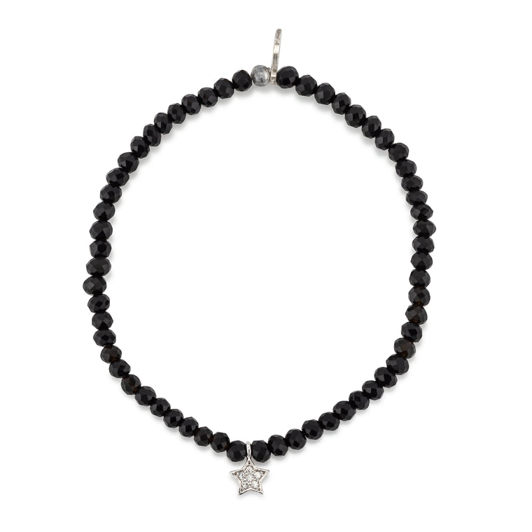BLACK CRYSTAL & SILVER CZ STAR CHARM BEADED BRACELET