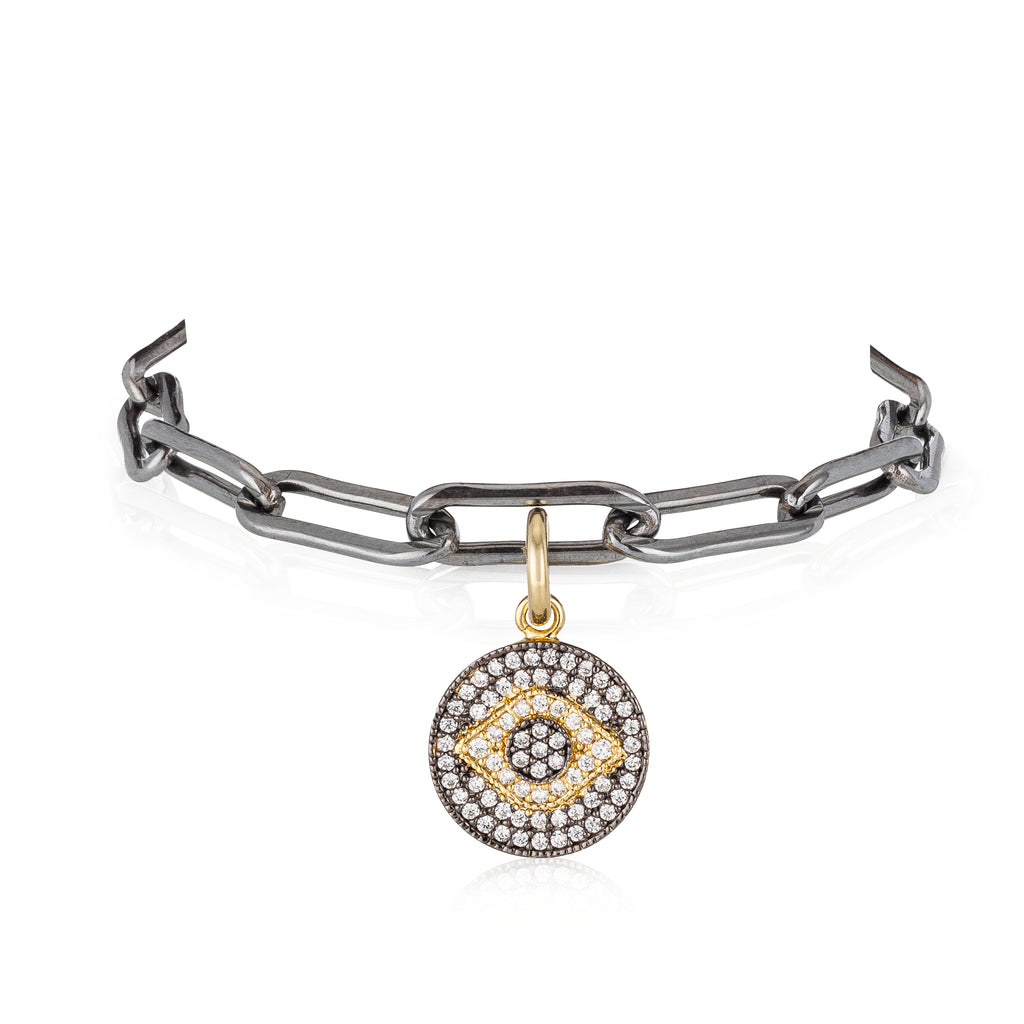 BLACK RHODIUM & YELLOW EVIL EYE PICK YOUR LENGTH BRACELET