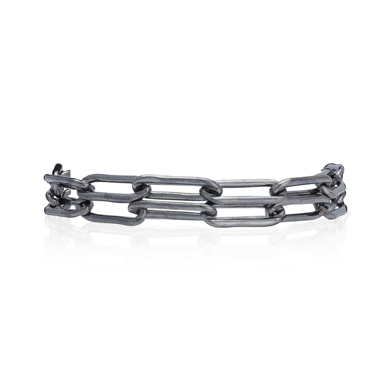 Black Rhodium Silver Chain Double Wrap Bracelet