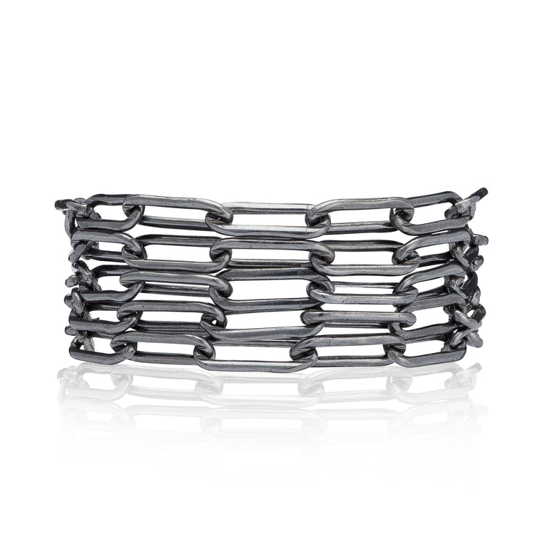 Black Rhodium Silver Five Wrap Bracelet