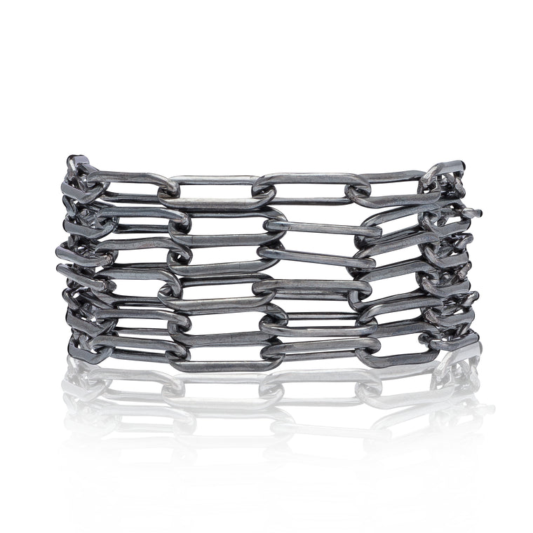 Black Rhodium Silver Six Wrap Bracelet