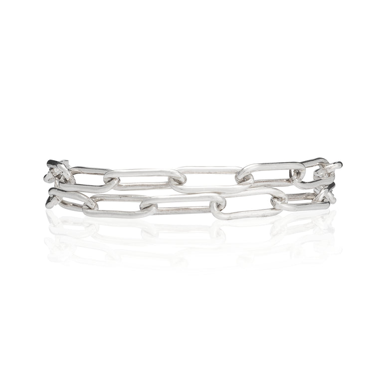 Sterling Silver Chain Double Wrap Bracelet