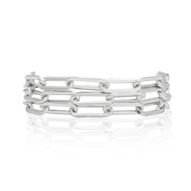 Sterling Silver Chain Triple Wrap Bracelet