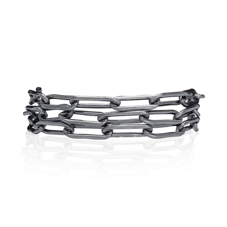 Black Rhodium Silver Chain Triple Wrap Bracelet