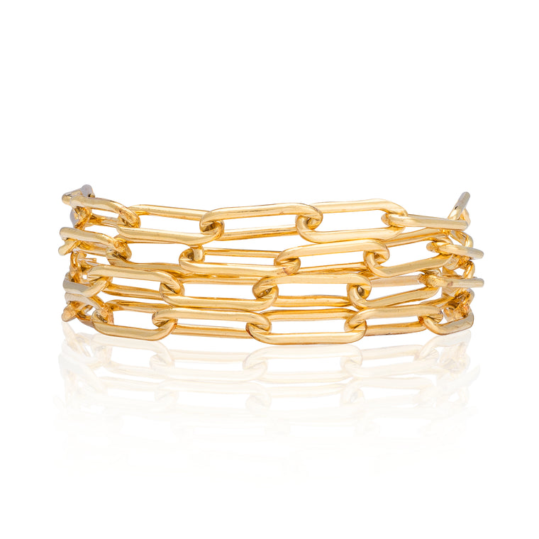 Yellow Gold Filled Chain Four Wrap Bracelet