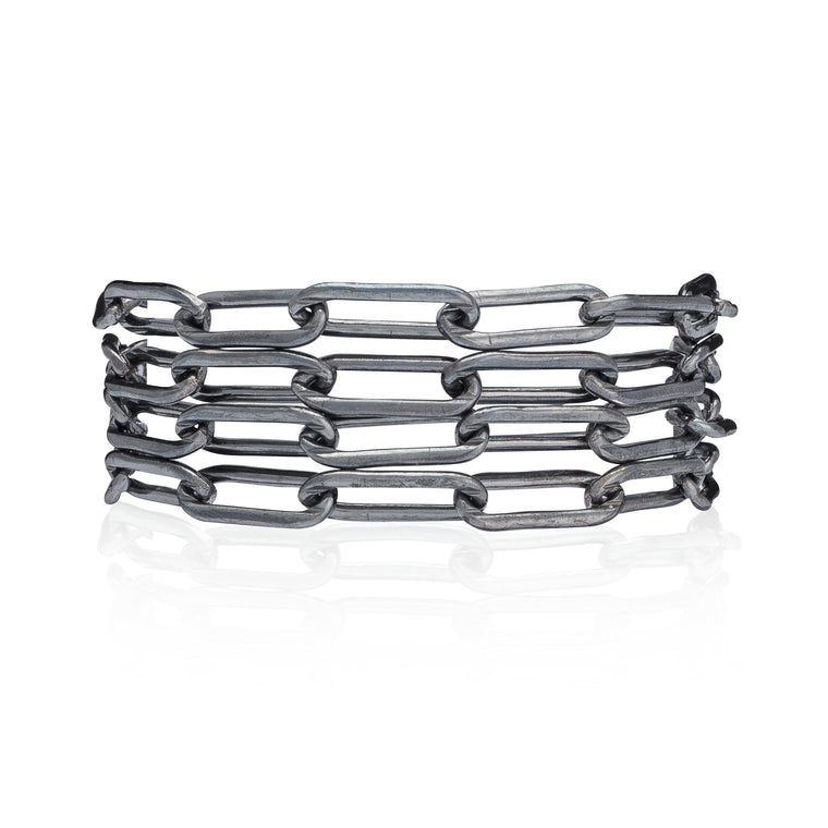 Black Rhodium Silver Chain Four Wrap Bracelet
