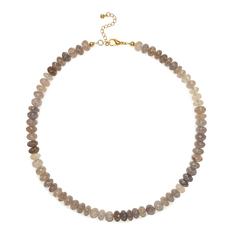 Sheer Brown Moonstone Beaded Necklace