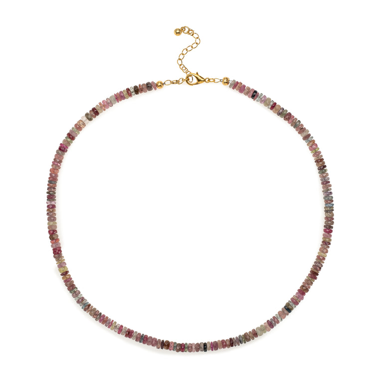 Natural Multi-Colored Sapphire Beaded Necklace