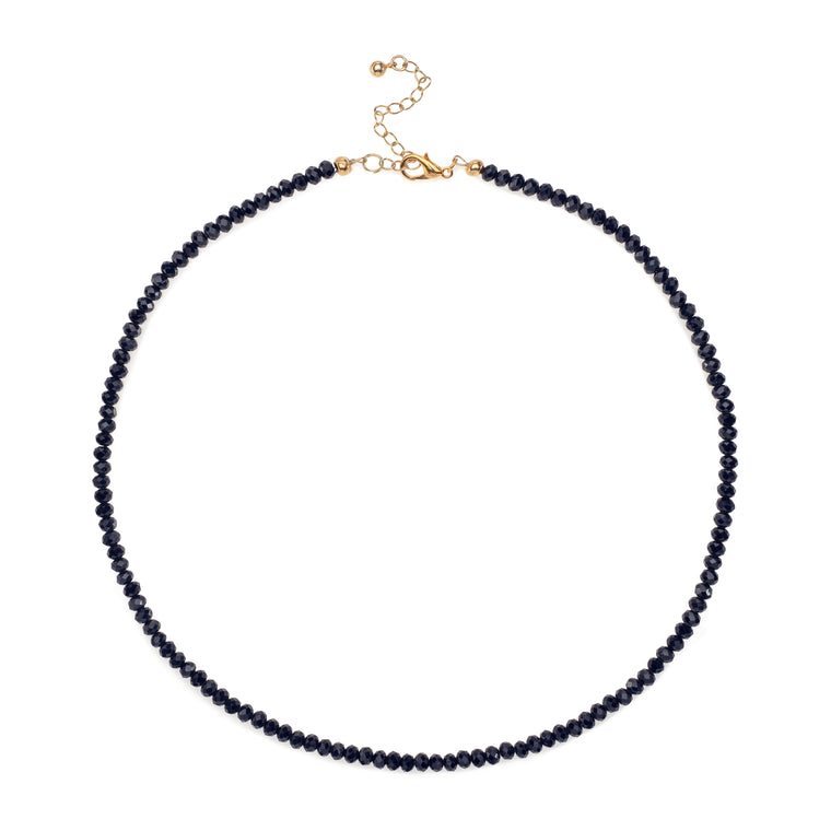 Navy Crystal Beaded Necklace
