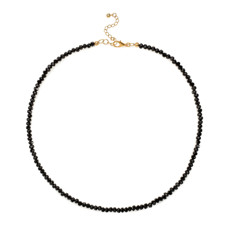 Black Crystal Beaded Necklace
