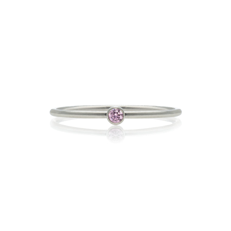 Sterling Silver and Pink Tourmaline Stackable Ring