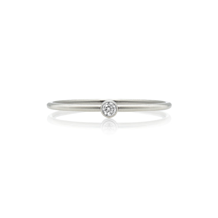 Sterling Silver and Diamond Stackable Ring