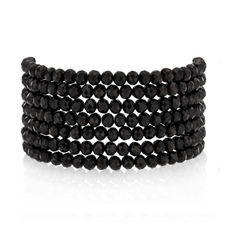 BLACK CRYSTAL SEVEN WRAP BRACELET & NECKLACE