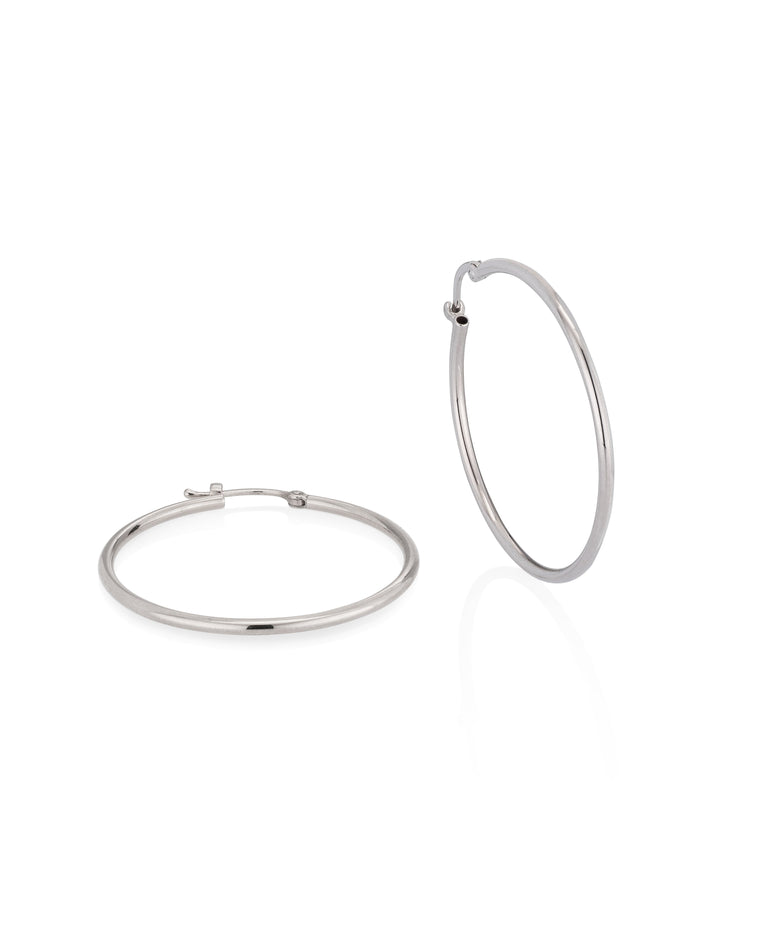 White Gold Large Classic Hoop