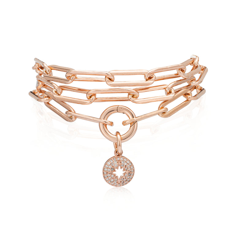 Rose Gold Filled Chain Diamond Sunburst Triple Wrap Bracelet