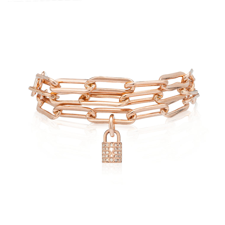 Rose Gold Filled Chain Diamond Lock Triple Wrap Bracelet