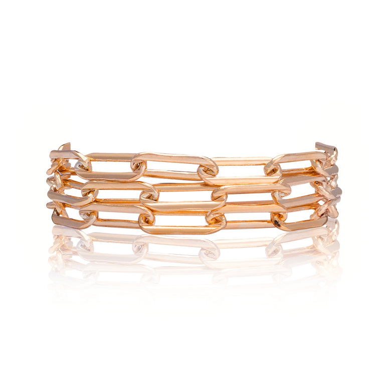 Rose Gold Filled Chain Triple Wrap Bracelet