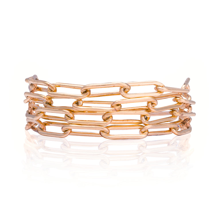 Rose Gold Filled Chain Four Wrap Bracelet
