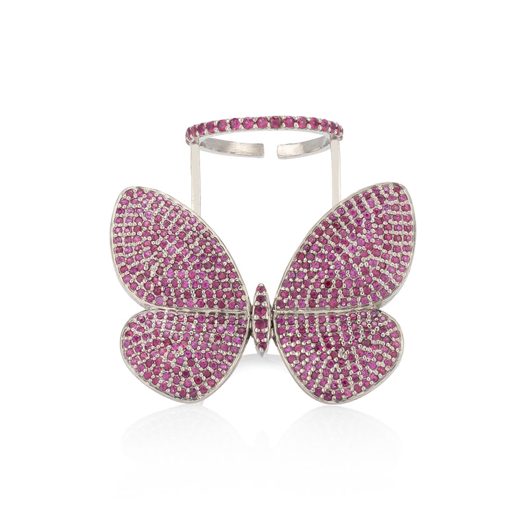 White Rhodium Silver and Pink Sapphire Fluttering Butterfly Ring
