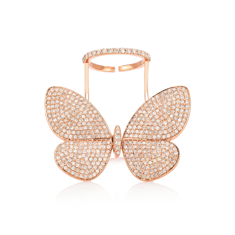 Rose Gold Fluttering Butterfly Ring