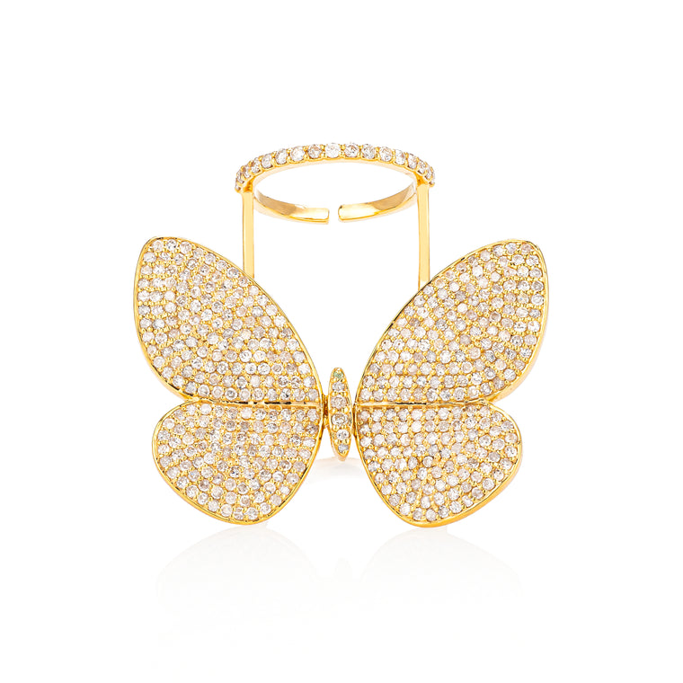 Yellow Gold Fluttering Butterfly Ring