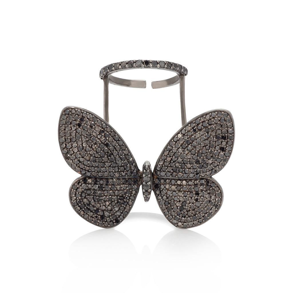 Black Rhodium Silver & Black Diamond Fluttering Butterfly Ring