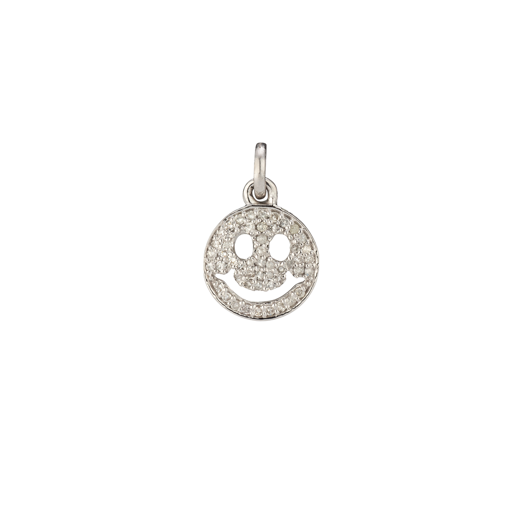 White Gold Diamond Smiley Face Charm