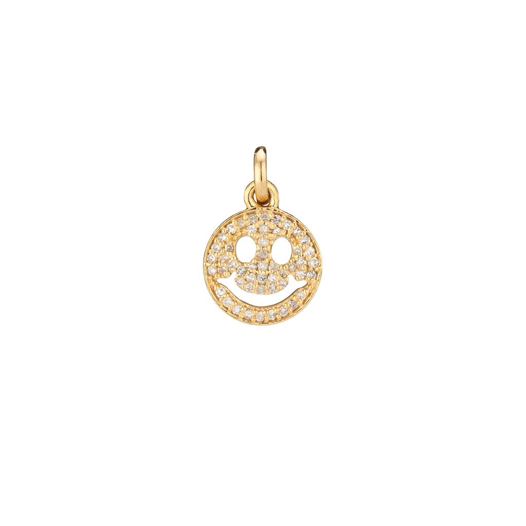YELLOW GOLD DIAMOND SMILEY FACE CHARM