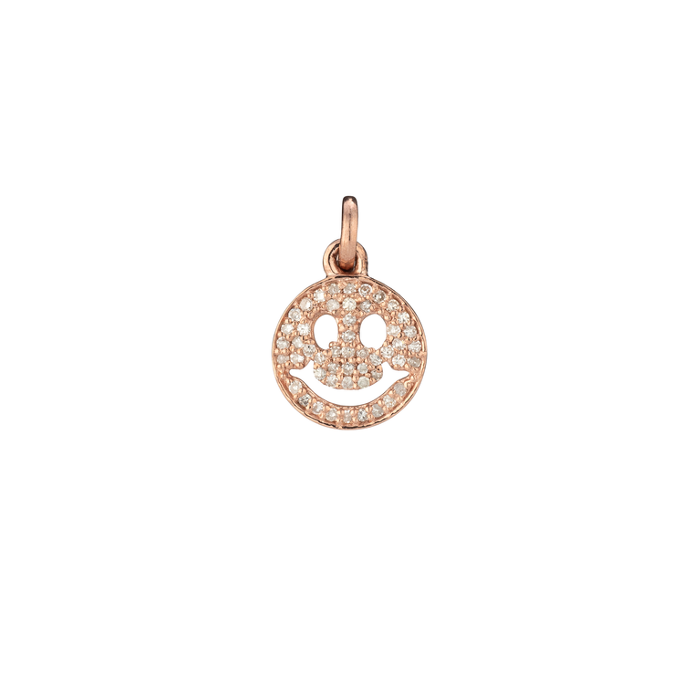 Rose Gold Diamond Smiley Face Charm