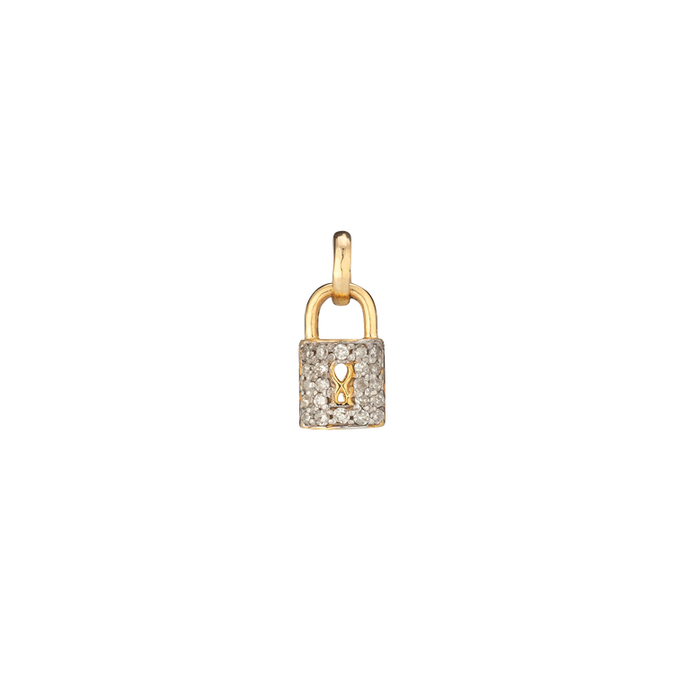 WHITE AND GOLD TWO TONE DIAMOND LOCK CHARM