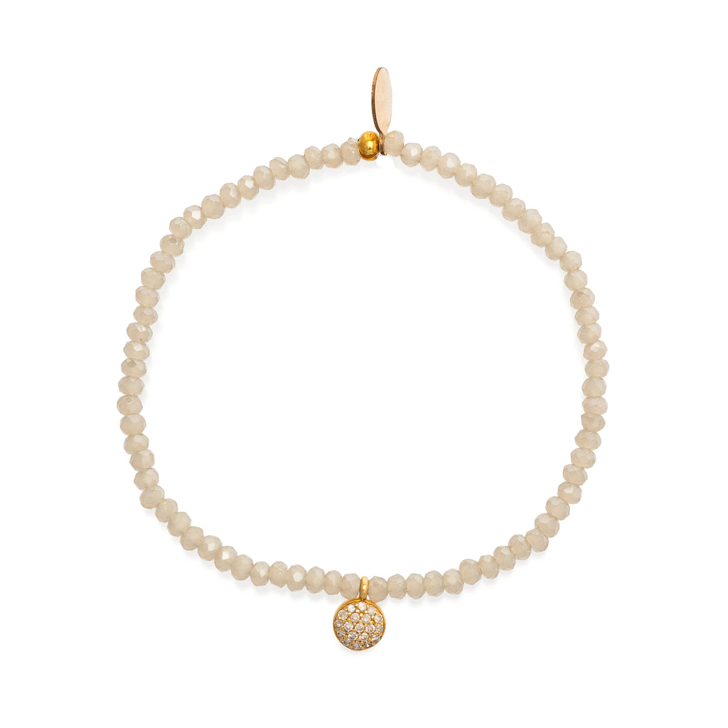 Champagne Quartz and Yellow Gold Diamond Drop Beaded Bracelet