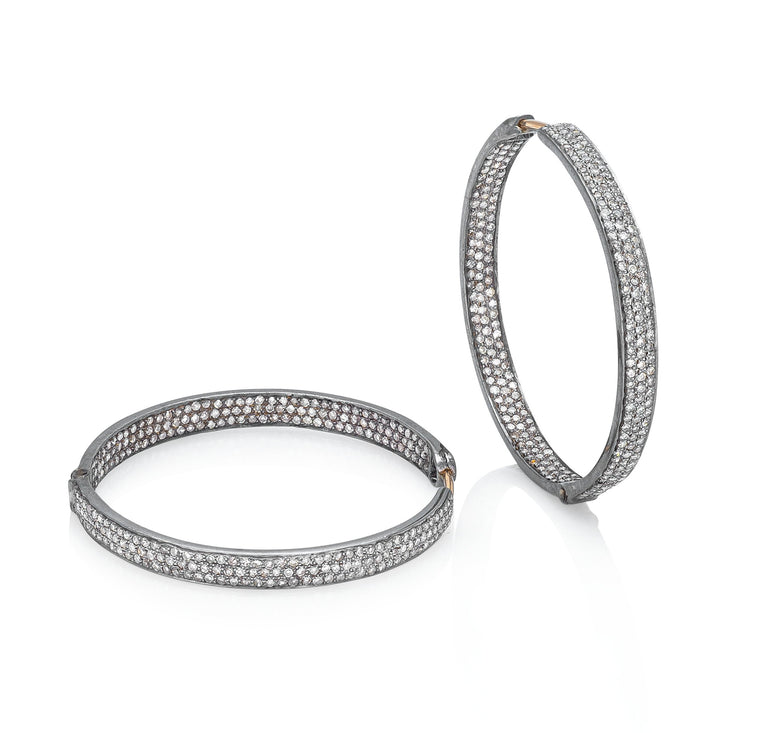 Blackened Silver and Diamond Hoop Earrings