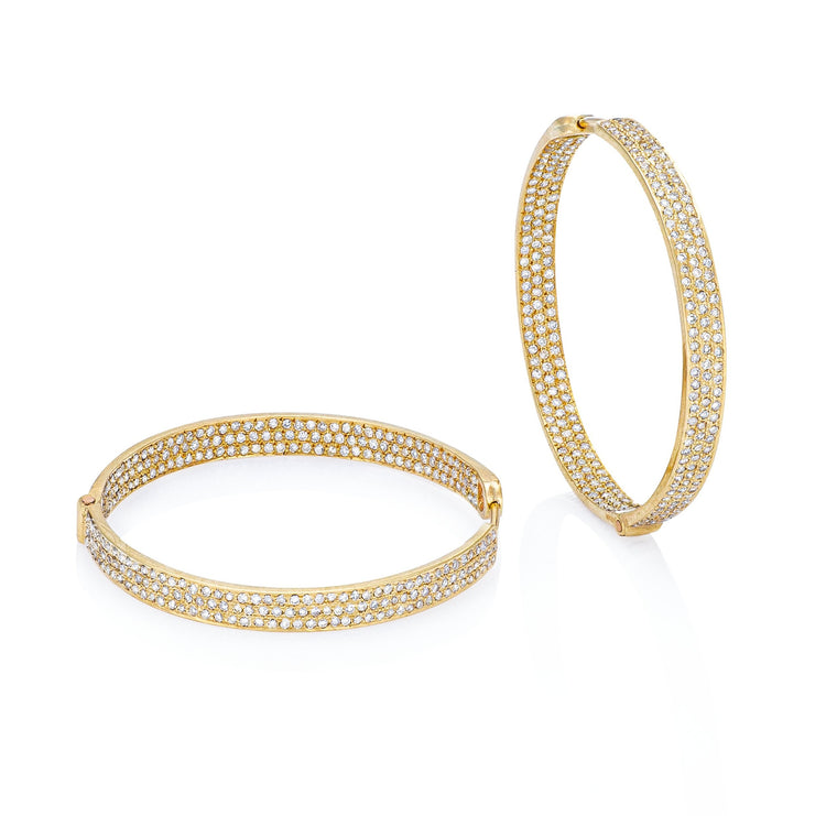 Yellow Gold and Diamond Hoop Earrings