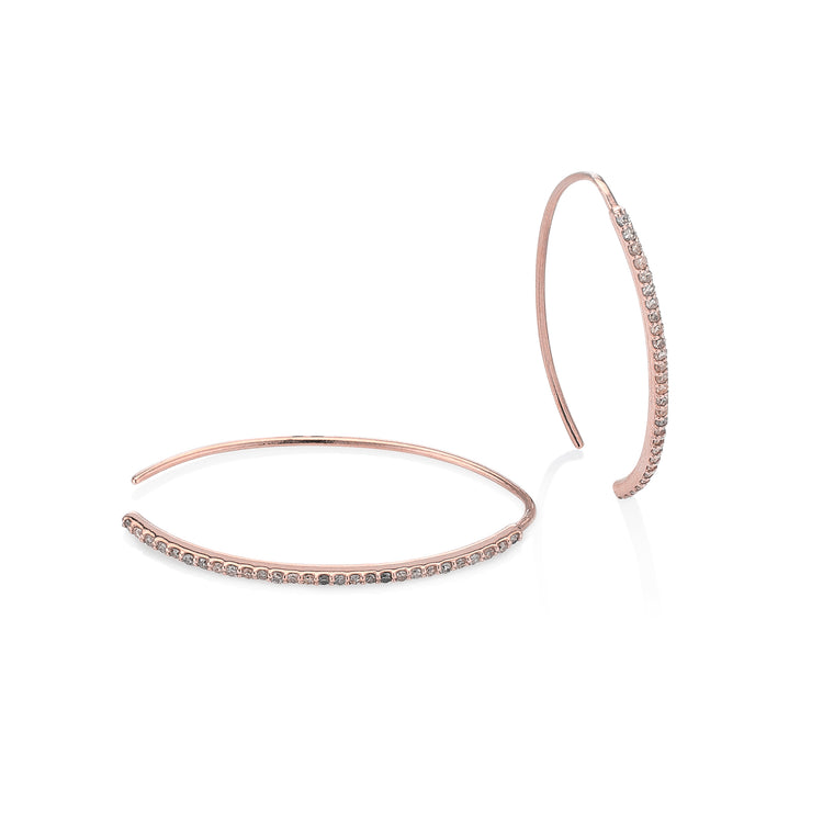 Rose Gold Curved Edge Diamond Hoops