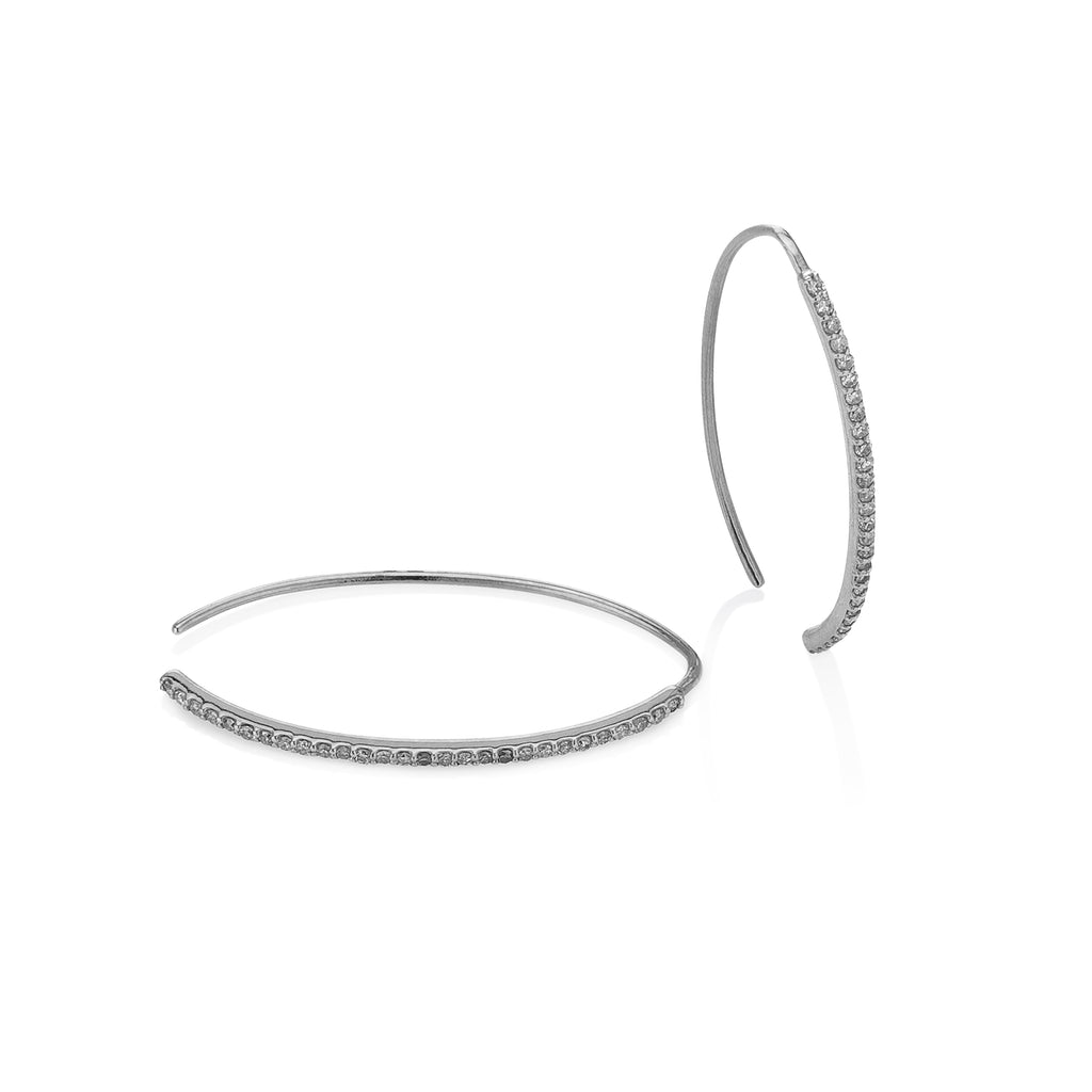 White Gold Curved Edge Diamond Hoops