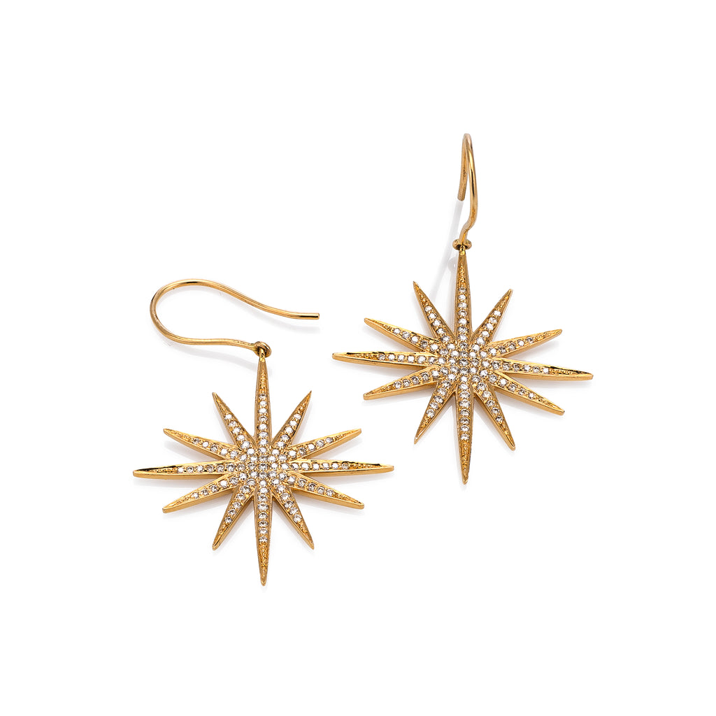 Yellow Gold and Diamond Sunburst Earrings