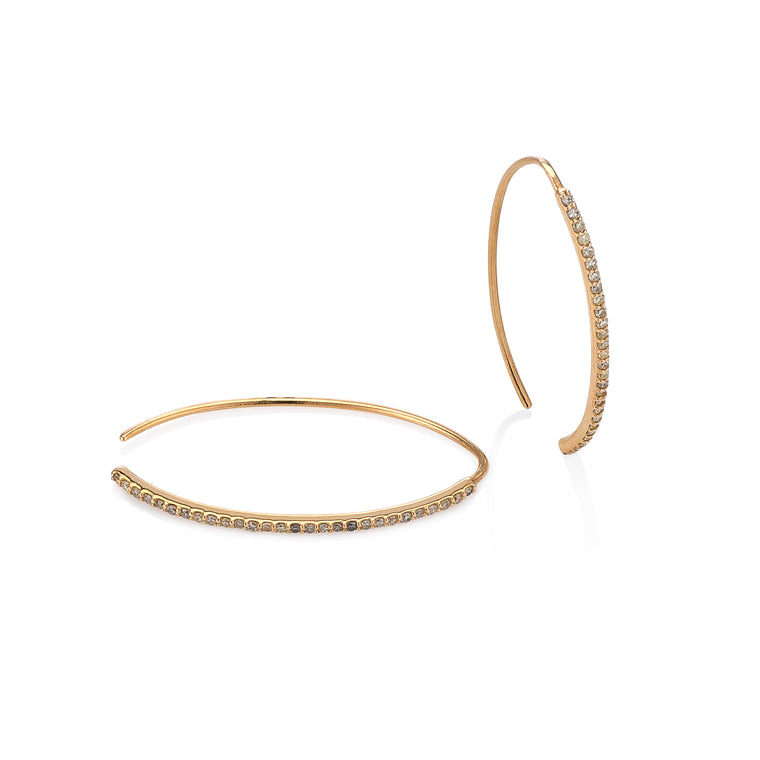 Curved Edge Yellow Gold Diamond Hoops