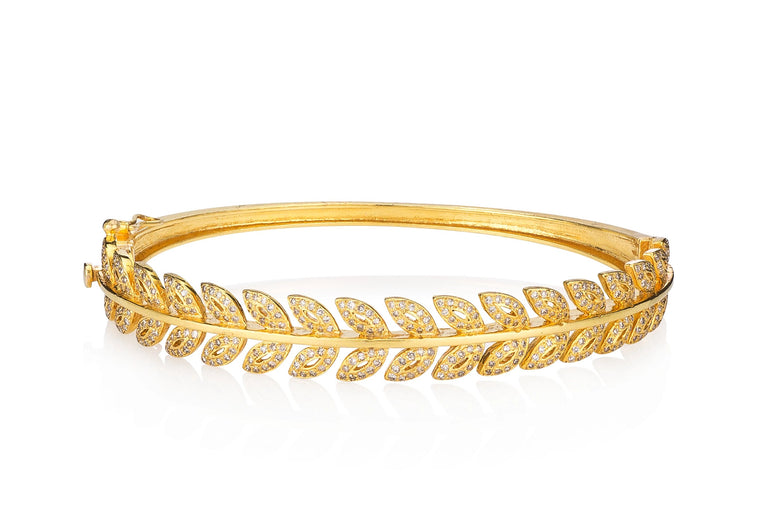 Yellow Gold Ethereal Diamond Leaf Bracelet
