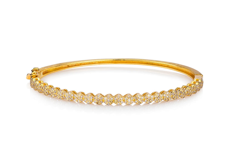 Yellow Gold Diamond Small Floral Hinge Bracelet