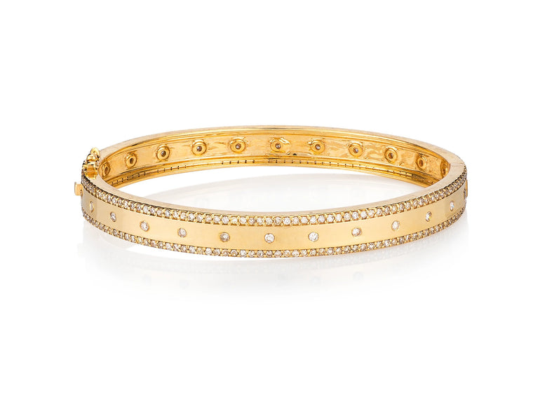 Yellow Gold and Diamond High Polish Hinge Bracelet