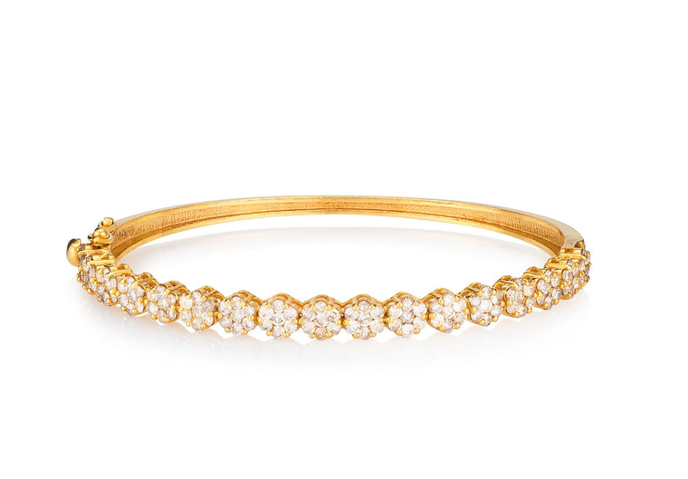 Yellow Gold Diamond Large Floral Hinge Bracelet