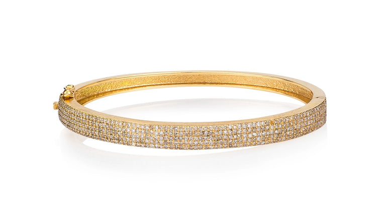 Yellow Gold and Pave Diamond Hinge Bracelet