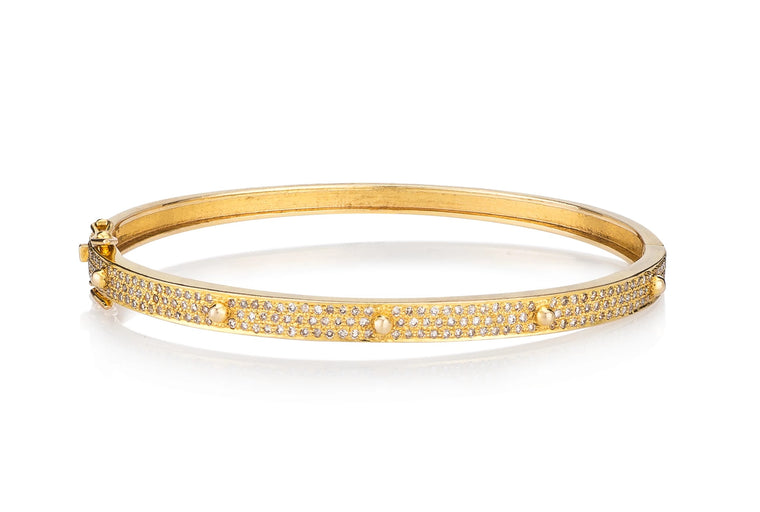 Yellow Gold Diamond Mini Stud Hinge Bracelet