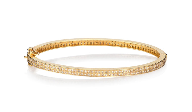Yellow Gold and Fully Set Pave Diamond Hinge Bracelet